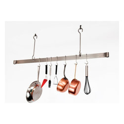 "Enclume - Premier 48 Inch Offset Hook Ceiling Pot Rack, Chrome - Dimensions: 48""L x 20""H"