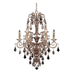 Savoy House - Antoinette 9 Light Chandelier - An exceptionally delicate and refined family that features a combination of graceful pendalogues and charming almond crystals, with beautifully ribbed bobeches, and cream beeswax candles. Our New Mocha finish combines bronze and silver to make this a very versatile family.