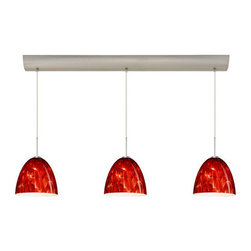 Besa Lighting - Besa Lighting 3JV-447041-LED Vila 3 Light LED Linear Pendant - Vila has a classical bell shape that complements aesthetic, while also built for optimal illumination. Our Garnet glass is full of floating, vibrant red tones with a mix of black and white tones behind them. When the glass is lit the fiery color palette illuminates to exude a harmonious display. This decor is created by rolling molten glass in small bits of deep red hues called frit along with black glass powders. The result is a multi-layered blown glass, where frit color is nestled between an opal inner layer and a clear glossy outer layer. This blown glass is handcrafted by a skilled artisan, utilizing century-old techniques passed down from generation to generation. Each piece of this decor has its own artistic nature that can be individually appreciated. The cord pendant fixture is equipped with three (3) 10' SVT cordset and a 3-light bar canopy.Features: