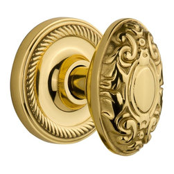 Nostalgic - Nostalgic Mortise-Rope Rose-Victorian Knob-Polished Brass (NW-702548) - Rope Rose with Victorian Knob - Mortise