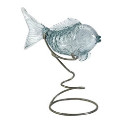 IMAX CORPORATION - Pisces Glass Fish Statuary on Metal Stand - The Pisces glass fish statuary on a spiraled metal stand has a pale blue finish and is a nice coastal accent to any room!. Find home furnishings, decor, and accessories from Posh Urban Furnishings. Beautiful, stylish furniture and decor that will brighten your home instantly. Shop modern, traditional, vintage, and world designs.