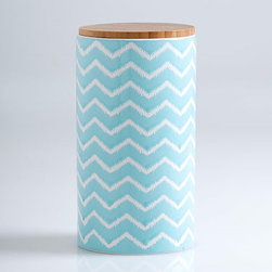Ocean Zig-Zag Jar - This charming Moroccan-inspired jar is a perfect place to store all your travel trinkets. Just don't forget to keep a lid on it.