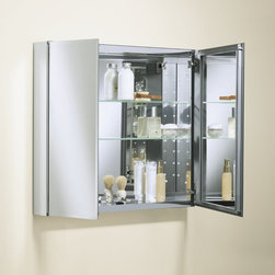 "Kohler K-CB-CLC3026FS 30"" x 26"" Double Door Mirrored Medicine Cabinet with Adju - Kohler double-door, mirrored aluminum cabinet offers a sleek look and design that will complement a variety of bathroom styles."
