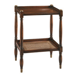 Sherrill Occasional - Sherrill Occasional Side Table 485-810 - Very functional and sturdy small chairside table with inset caned lower shelf, brass ferruled feet and post accents.
