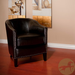 Christopher Knight Home - Christopher Knight Home Austin Black Leather Club Chair - Relax in style with this sophisticated black leather club chair. This chair features supple bonded leather, studded accents, and a removable seat cushion. It is made with a solid wood frame for added stability and has espresso-stained wood legs.