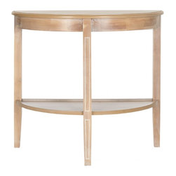 Safavieh - Amos Console - Honey Nature - A beautiful demilune table, the Amos console makes an artful addition to a living room or hall when decked out with lamps and accessories. Fashioned of honey natural fir wood, this transitional console features pretty carved legs and useful shelf.