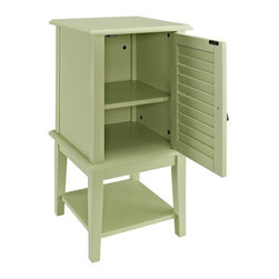 Powell - Powell Seagreen Shutter Door Table X-153-433 - Cozy Shutter side table provides a stylish focus or complement to any room. Door features louver style decoration, and one interior shelf adds function behind it. Lower shelf adds additional storage space. Sea Green finish.