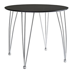 LexMod - The Surge Dining Table in Black - Enact a burst of enthusiasm as creative energy courses up from the deeper essences. Surge reminds us of the ability to achieve goals while balancing this impetuosity with stability. The sleek round black top and bowed steel legs show the cumulative strategies needed to increase one's capacity for understanding.