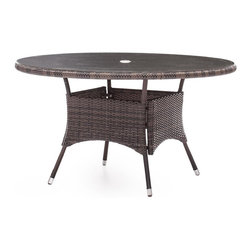 Zuo Modern - UV Resistant Table in Brown - Woven pattern. Warranty: One year limited. Made from aluminum and polypropylene. Assembly required. 53.5 in. Dia. x 29.3 in. H (35 lbs.)Enjoy a refreshing cocktail in the shade with the South Bay Table Set.