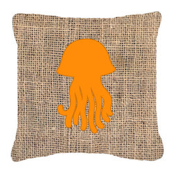 Caroline's Treasures - Jellyfish Burlap and Orange Fabric Decorative Pillow Bb1091 - Indoor or Outdoor Pillow from heavyweight Canvas. Has the feel of Sunbrella Fabric. 18 inch x 18 inch 100% Polyester Fabric pillow Sham with pillow form. This pillow is made from our new canvas type fabric can be used Indoor or outdoor. Fade resistant, stain resistant and Machine washable..