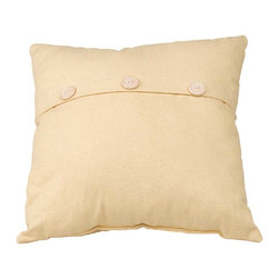 Renovators Supply - Pillows Yellow Poly Cotton Chamois Button Pillow 17'' Square - Chamois Button Pillow 17 inch square. This colorful pillow will add new colors and textures to your decor.  Button pillow is 17 inch square.