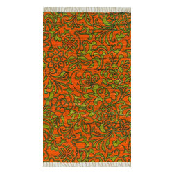 """Loloi Rugs - Loloi Rugs Aria Collection - Orange / Lime, 1'-8"""" x 3' - Expressive and relaxed, stylish and fun. The Aria Collection from India has it all. Pretty paisley patterns, flourishing flowers, dreamy damasks and magical medallion designs are printed onto 100% recycled cotton Chindi for scatter rugs that are flirty and fashionable. Dressed in a palette of bold, saturated colors that take you from cool blues and pinks to warm spice tones and modern tropical hues, too, Aria rugs come in select scatter sizes that will accent choice spaces with flair."""