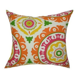 The Pillow Collection Hasufel Geometric Pillow - Multi - The colorful and bold pattern of The Pillow Collection Hasufel Geometric Pillow – Multi adds a splash of style to any setting. This fun and funky pillow features a soft 100-percent cotton cover and a groovy floral print in colors of yellow, red, green, and magenta. Its 95/5 feather/down fill insert is cozy, comfortable, and easy to relax with. Dry clean only.About The Pillow CollectionIdentical twin brothers Adam and Kyle started The Pillow Collection with a simple objective. They wanted to create an extensive selection of beautiful and affordable throw pillows. Their father is a renowned interior designer and they developed a deep appreciation of style from him. They hand select all fabrics to find the perfect cottons, linens, damasks, and silks in a variety of colors, patterns, and designs. Standard features include hidden full-length zippers and luxurious high polyester fiber or down blended inserts. At The Pillow Collection, they know that a throw pillow makes a room.