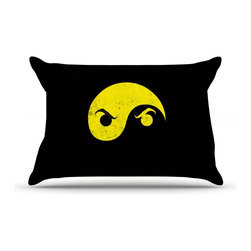"Kess InHouse - Frederic Levy-Hadida ""Yin Yang Ninja"" Pillow Case, Standard (30"" x 20"") - This pillowcase, is just as bunny soft as the Kess InHouse duvet. It's made of microfiber velvety fleece. This machine washable fleece pillow case is the perfect accent to any duvet. Be your Bed's Curator."