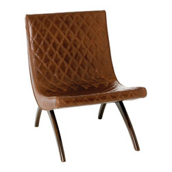 Kathy Kuo Home - Danforth Mid Century Modern Chestnut Quilted Leather Chair - It doesn't get more mid century masculine than this!  Quilted, chocolate-rich leather is crafted into a sleek chair that would be right at home in Don Draper's office.