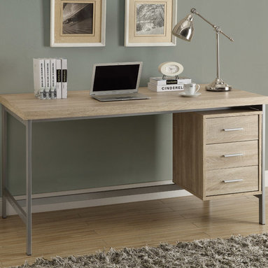 """Monarch - Natural Reclaimed-Look/Silver Metal 60""""L Office Desk - Create and undustrial yet simple style to your home with this 3 drawer natural reclaimed wood-look hollow-core desk. A beautiful silver metal frame supports this thick topped work station with generous drawer storage.; Material: Wood; Dimensions: 60""""L x 30""""W x 30.75""""H"""