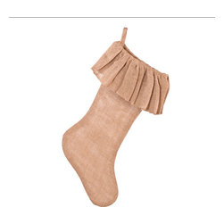 Saro - Ruffled Burlap Stocking, Natural - Ruffled Burlap Stocking, Natural