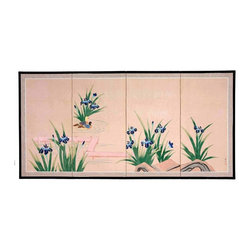 Oriental Unlimted - Blue Pond of Life Silk Screen - Screens may vary slightly in color. Hand painted ink and watercolor silk screen. Song dynasty (10th century China) brush art style. Crafted from silk covered paper, glued over four side-by-side lacquered wood frames. Matted with a fine Chinese silk brocade border. Comes with lacquered brass geometric hangers for easy mounting. Can be displayed as a privacy screen, partly folded to stand upright on a table or floor. Note that no two renderings are exactly the same. Subtle, beautiful hand painted wall art for a fraction of the cost of a comparable print. 36 in. W x 0.63 in. D x 72 in. H