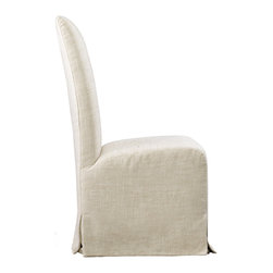 Amelia Slip Covered Side Chair - Dress up your table with the Amelia Slip Covered dining chair. Upholstered in 100% linen with topstitch detailing. Simple shape and variations of skirted slipcover provides this dining chairs flexibility and easy maintenance.
