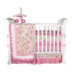 Trend Lab - Paisley - Crib Bedding Set (4-Piece) - Give your baby's bedroom a look that's both delicate and fun, with this 100-percent cotton paisley and striped bedding set. Pleasing pinks and cool greens combine in a way that is both sophisticated and sweet, with suede accents for extra softness. This set includes everything you need for your baby's crib — coverlet, 4-piece slipcover bumper, skirt and sheet.
