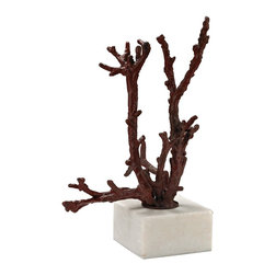 Lazy Susan - Lazy Susan 148027 Staghorn Coral Sculpture - Staghorn coral sculpture for med from cast iron, in a red  finish and mounted on a white marble base.