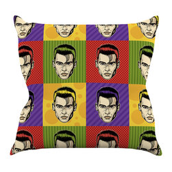 """Kess InHouse - Roberlan """"Johnny Depop"""" Pop Art Throw Pillow (16"""" x 16"""") - Rest among the art you love. Transform your hang out room into a hip gallery, that's also comfortable. With this pillow you can create an environment that reflects your unique style. It's amazing what a throw pillow can do to complete a room. (Kess InHouse is not responsible for pillow fighting that may occur as the result of creative stimulation)."""