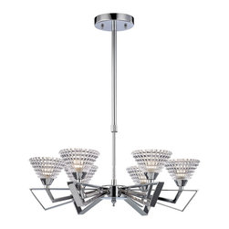 "Elk Lighting - Frenzy Modern Six-Light Chandelier - The excitement of mid-century design is evident in the Frenzy six-light Chandelier by Elk Lighting. Finished in Polished Chrome, this chandelier features angular arms that flair outward while beveled crystal glass emits an impressive textured light. This fixture accommodates six (6) 60 watt, type G9 halogen lamps, which are not included and its canopy measures 4.75"" in diameter. This fixture includes: (1) 6"" and (2) 12"" extension rods with hang-straight."