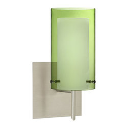Besa Lighting - Pahu Satin Nickel One-Light Halogen Square Canopy Wall Sconce with Transparent O - - The Trans-Olive colored blown glass complements the soft white Opal cased glass, which can suit any classic or modern decor. Opal has a very tranquil glow that is pleasing in appearance, as the Trans-Olive glass sparkles with the accents from that glow. The smooth satin finish on the opal?s outer layer is a result of an extensive etching process. This blown glass combination is handcrafted by a skilled artisan, utilizing century-old techniques passed down from generation to generation.  - Bulbs Included  - Shade Ht (In): 7  - Shade Wd/Dia (In): 4  - Canopy/Fitter Ht (In): 5  - Canopy/Fitter Dia/Wd (In): 5  - Title XXIV compliant  - Primary Metal Composition: Steel  - Shade Material: Glass  - NOTICE: Due to the artistic nature of art glass, each piece is uniquely beautiful and may all differ slightly if ordering in multiples. Some glass decors may have a different appearance when illuminated. Many of our glasses are handmade and will have variances in their decors. Color, patterning, air bubbles and vibrancy of the d�cor may also appear differently when the fixture is lit and unlit. Besa Lighting - 1SW-L44007-SN-SQ