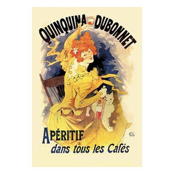 """Buyenlarge.com, Inc. - Quinquina Dubonnet Apertif #2 - Paper Poster 20"""" x 30"""" - Known as the father of the modern poster, Jules Cheret (1836 - 1932) was a French painter and lithographer. He worked on everything from theater to advertising. Here advertising the aperitif, Quinquina Dubonnet, Cheret has drawn on one of his compositional standbys: an attractive and fashionably dressed young woman holding a bottle of the advertised product."""