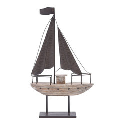 Benzara - Metal Wood Boat with Distressed Finished Metal accents - Crafted with great care, this Metal Wood Boat has an elegant design which makes it a perfect decor accent. This decor piece is designed like a classic styled boat and adds a touch of nautical charm to decor settings with its attractive appeal. Designed with great attention to details, this decor piece is detailed with distressed finished metal accents. A weathered finish adds to the visual appeal and imparts a rich, old-world appeal to this decor piece. Featuring a versatile appeal, this boat decor piece can be added to all modern or contemporary decor setups and adds a unique look to youth rooms in particular. Detailed with a weathered accent for an exotic look, the sturdy metal stand offers ample support to this decor piece and allows easy placement on side-tables or shelves. Expertly crafted of high quality wood and metal, this unique boat endures for a long time.