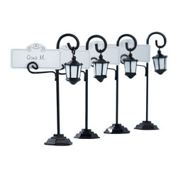 "Handcrafted Model Ships - Bourbon Street Lamp Placecard Holder with Matching Placecards 4"" - Set of 4 - Let a nostalgic expression of days gone by lead the way to your happy occasion. Guests will feel like they are in a historic place full of old-world charm as this clever streetlight favor shows them the way to their seats with a place card that looks like a street sign. This Set of 4 - Bourbon Street Lamp Place card Holder with Matching Place cards are delightfully unique!"