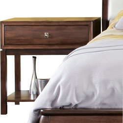American Drew - American Drew Miramar 1 Drawer Nightstand in Auburn on Prima Vera - Belongs to Miramar Collection by American Drew, Auburn on Prima Vera Finish, Smoky Brown Accents, 1 Drawer, Power Strip, Nightstand 1
