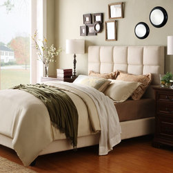 Fenton Squares Upholstered Low Profile Bed - Upholstered in rich, ivory linen, the Fenton Squares Upholstered Low Profile Bed - Ivory Linen makes a striking addition to any contemporary bedroom. Neutral in tone, this bed is easy to coordinate with your decor, and has a chic low-profile design.