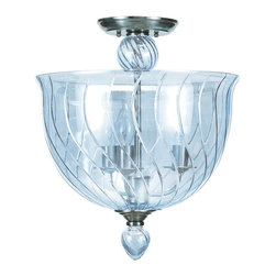 Crystorama - Crystorama 9843-CH-IB Harper Ceiling Mount - The Harper Collection from Crystorama has a very traditional design flare but pared with the new ICE BLUE glass body helps to create a sense of contemporary edge. The glossy ICE BLUE glass is hard edge enough for contemporary seetings but soft and elegant enough to match any dA©cor. For a more modern flare, use the Chrome metal candle sleeves. For a more traditional decor, use the white candle sleeves. Both the chrome and white ship with each fixture.