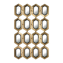 """Lamps Plus - Contemporary Honeycomb Rectangle 24"""" x 40"""" Wall Mirror - Wall mirror. Gold leaf and black finishes. Honeycomb frames design.  Rectangle shape. Metal mirror and MDF construction. 24"""" wide.  40"""" high.          Wall mirror.  Gold leaf and black finishes.  Honeycomb frames design.  Rectangle shape.  Metal mirror and MDF construction.  24"""" wide.   40"""" high."""