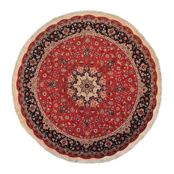 """Persian Tabriz Round Rug, 10X10 400 Kpsi Hand Knotted Wool And Silk Rug SH12835 - The first way one normally finds silk in a rug is as a """"highlight""""  or """"silk touch"""". This will be seen in very high knot count traditional rugs typically. The silk is used in very small amounts throughout the design to highlight, add an extra dimension, and/or pop to the design. The second way silk is incorporated into a wool rug sometimes is when an entire element of a rug or color is done in silk. This is seen in both modern as well as traditional rugs. A design element, for instance a flower or bird, could be entirely carved out in silk within the rug. This design sometimes will also be depressed or raised (have a higher and lower pile) besides being done in silk so it will stand out even more within the rug."""
