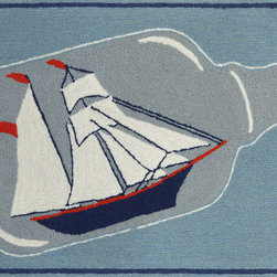 "Trans-Ocean - 24""x36"" Frontporch Ship In A Bottle Water Mat - Richly blended colors add vitality and sophistication to playful novelty designs.Lightweight loosely tufted Indoor Outdoor rugs made of synthetic materials in China and UV stabilized to resist fading.These whimsical rugs are sure to liven up any indoor or outdoor space, and their easy care and durability make them ideal for kitchens, bathrooms, and porches. Made in China."