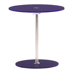 Zuo Modern - Radical Side Table Purple - Constructed of tempered glass and chrome, the Radical side table features an adjustable mechanism for every leisure setting.