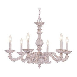 Crystorama - Single Tier Chandelier - Sutton Collection's Antique White finish has a distressed gold brush strokes. This Paris Flea look is timeless and whimsical.