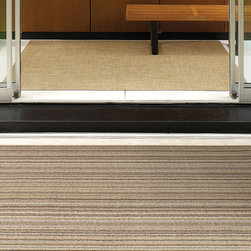 """Chilewich - Chilewich - Chilewich Skinny Stripe Shag Floormat - Shag is tufted from durable vinyl yarns for a textured """"looped"""" look. These all vinyl-mats are ideal for bathrooms, outdoor terraces and entryways. Good in all weather. Quick to dry. Resists mold and mildew. Utility Mat and Doormat have vertical stripes and Big Mat has horizontal stripes. Made in USA."""