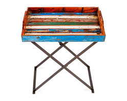 EcoChic Lifestyles - Topside Reclaimed Wood Tray and Stand - When you're ready to kick back with a little refreshment, let the Topside Tray & Stand do your serving. Brilliant color from reclaimed fishing boat wood will steal the show from whatever you prepare. Iron from dismantled bridges forms the folding base. A portable piece that does the trick inside and out.