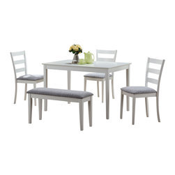 Monarch Specialties - Monarch Specialties 1210 5-Piece Dining Room Set in White - This casual dining set is the perfect solution for small kitchens or dining spaces. The sleek rectangular dining table features tapered square legs that adds a modern appeal. The side chairs have horizontal curved back slats and are upholstered in a padded two tone material. Not only is the bench ideal for small spaces, it concludes the unique and trendy look of this dining ensemble. Finished in a crisp white, this cool contemporary five piece dinning set is a great addition to any home or apartment.