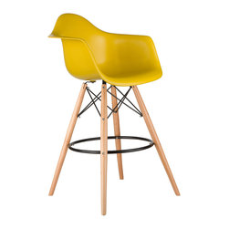 Barstool Arm Chair in Mustard - Take iconic mid-century modern design to new heights. Inspired by the classic design aesthetic of our Montmarte Arm Chair, the Barstool Arm Chair offers stylish modern seating for your counter-height needs. The chair features a smooth polypropylene seat with a waterfall edge for added support. It also features natural wood dowel legs. We see this chair fitting in at the kitchen island, providing a comfortable seat for late night stacks or kitchen chatter. Available in a variety of vibrant colors, the chair will spruce up your décor without overpowering the room.