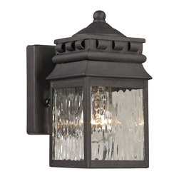 Elk Lighting - Forged Lancaster 1-Light Outdoor Sconce in Charcoal - Forged Lancaster Collection 1 light outdoor sconce in charcoal