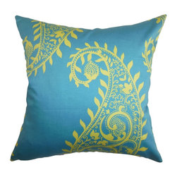 """The Pillow Collection - Neysa Paisley Pillow Blue Yellow 18"""" x 18"""" - Bring a classy look to your interiors with this pretty accent pillow. This square pillow features a traditional paisley pattern in bright yellow hue against a stunning blue background. Ideal for indoor use, this decor pillow adds charm to your living room, bedroom or lounge area. Incorporate solids and other patterns to pair with this 18"""" pillow. Hidden zipper closure for easy cover removal.  Knife edge finish on all four sides.  Reversible pillow with the same fabric on the back side.  Spot cleaning suggested."""