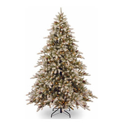 9 Ft. Snowy Concolor Fir Christmas Tree with 950 Clear Lights - Measures 9 feet tall with 71 inch diameter. Pre-lit with 950 UL listed, pre-strung Ready-Lit Clear lights. Includes ON/OFF foot switch to operate lights. Tip count: 2749. Trimmed with snow-tipped pine cones. All metal hinged construction (branches are attached to center pole sections). Comes in four sections for quick and easy set-up. Includes sturdy folding metal tree stand. Light string features BULB-LOCK to keep bulbs from falling out. If one bulb burns out the others remain lit. Fire-resistant and non-allergenic. Includes spare bulbs and fuses. 5-year tree warranty / 2-year lights warranty. Packed in reusable storage carton. Assembly instructions included.