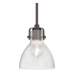 Minka Lavery - Minka Lavery 2244-267C Dark Brushed Bronze 1 Light Pendant - Clear Seeded Glass Shade