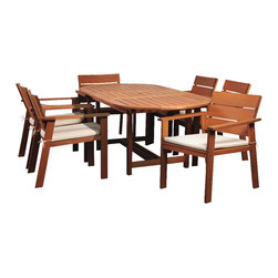 International Home Miami - Amazonia Nelson Eucayptus 7 Piece Oval Extendable Dining Set - Nelson Eucayptus 7 Piece Oval Extendable Dining Set belongs to Amazonia Collection by International Home Miami Great Quality, elegant design patio set, made of solid eucalyptus wood. FSC (Forest Stewardship Council) certified. Enjoy your patio with style with these great sets from our Amazonia outdoor collection.  Table (1), Chair (6)