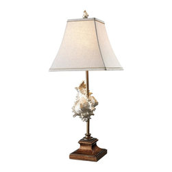 Dimond Lighting - D1979-LED Delray Table Lamp, Conch Shell and Bronze - Transitional Table Lamp in Conch Shell and Bronze from the Delray Collection by Dimond Lighting.