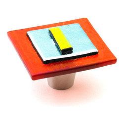 "Windeborne Studios - JorWes Glass Knobs and Pulls, Orange Silver, 1.5"" Square - JorWes Collection is of original authentic design"